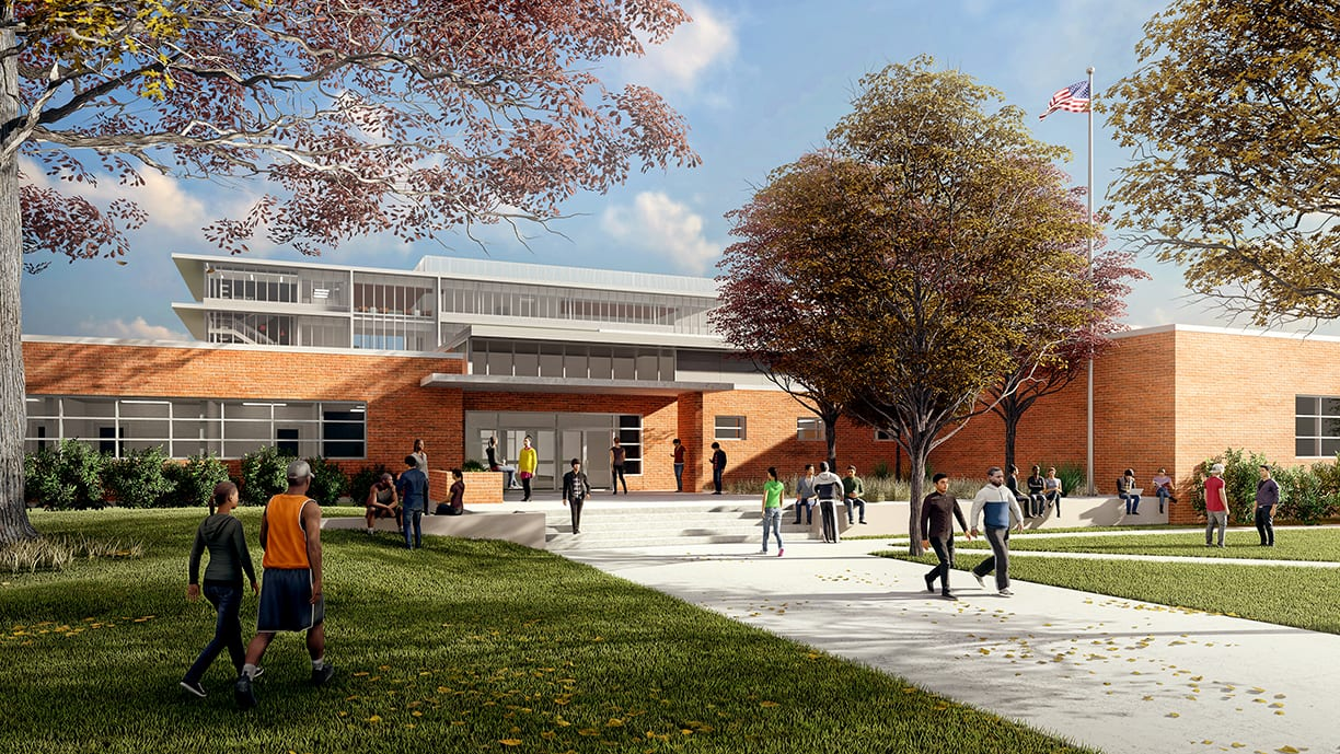 Eastside Memorial Early College High School walkway rendering